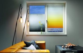 Plissee mit Farbverlauf grau und Farbverlauf gelb